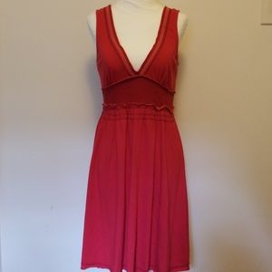 Red Free People Knit Dress with Eyelet Detail
